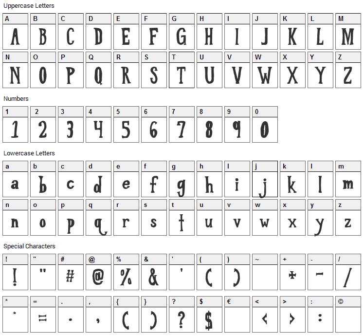 Love Til Killed Font Character Map