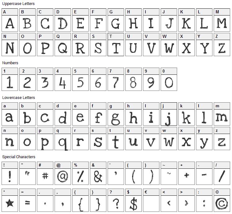 Love Ya Like A Sister Font Character Map