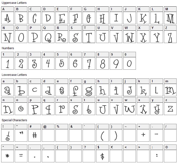 LoveLetters Font Character Map