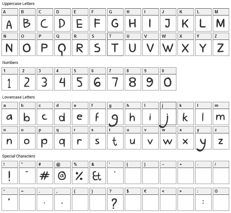Lovely Eunike Hans Font Character Map