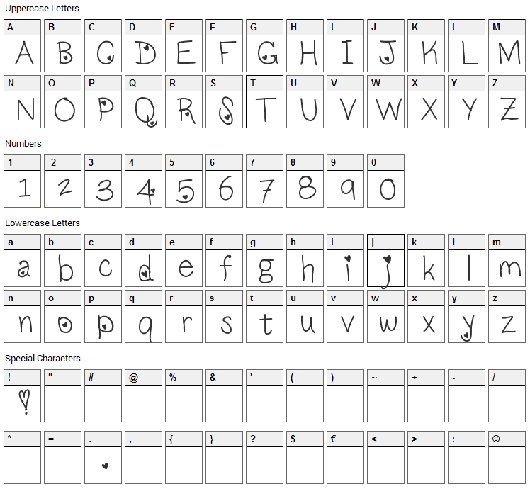 LoveNess Font Character Map