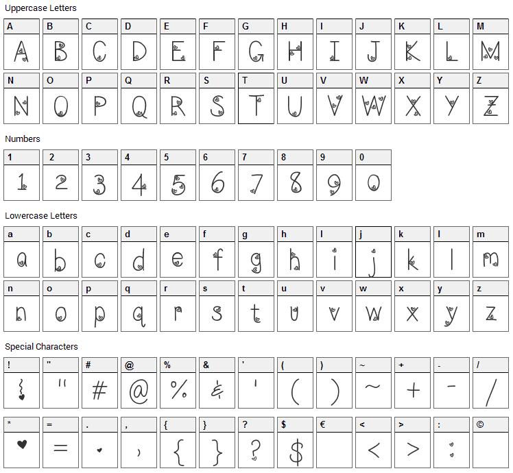 LoveNess Three Font Character Map