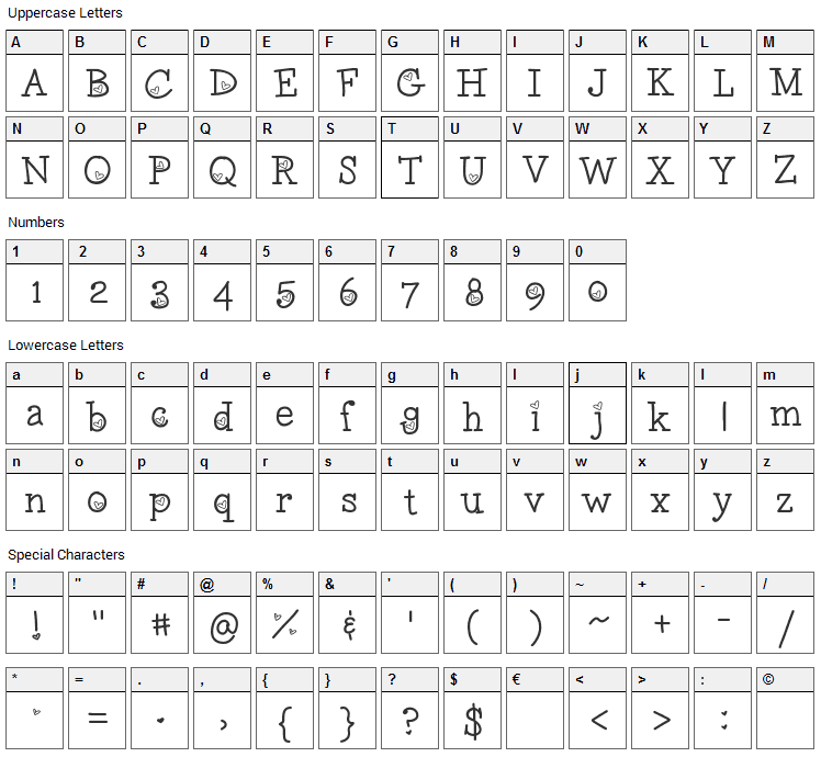 LoveNess Two Font Character Map