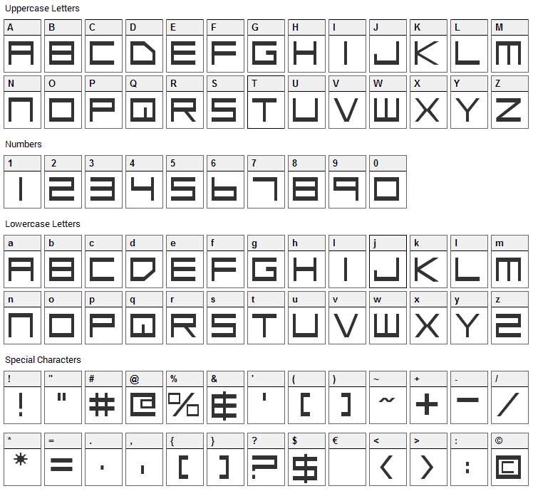 Low Gun Screen Font Character Map