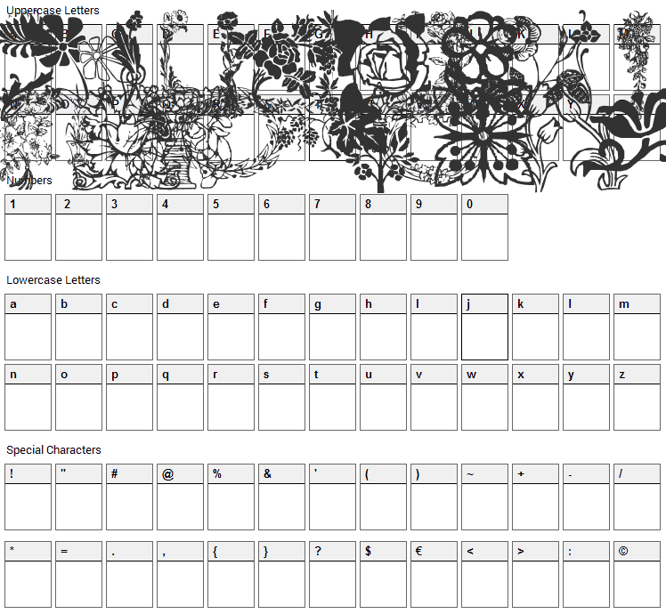 LP Flowers 1 Font Character Map