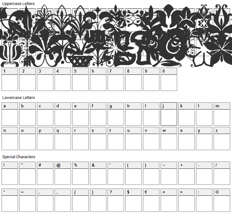 LP Flowers 2 Font Character Map