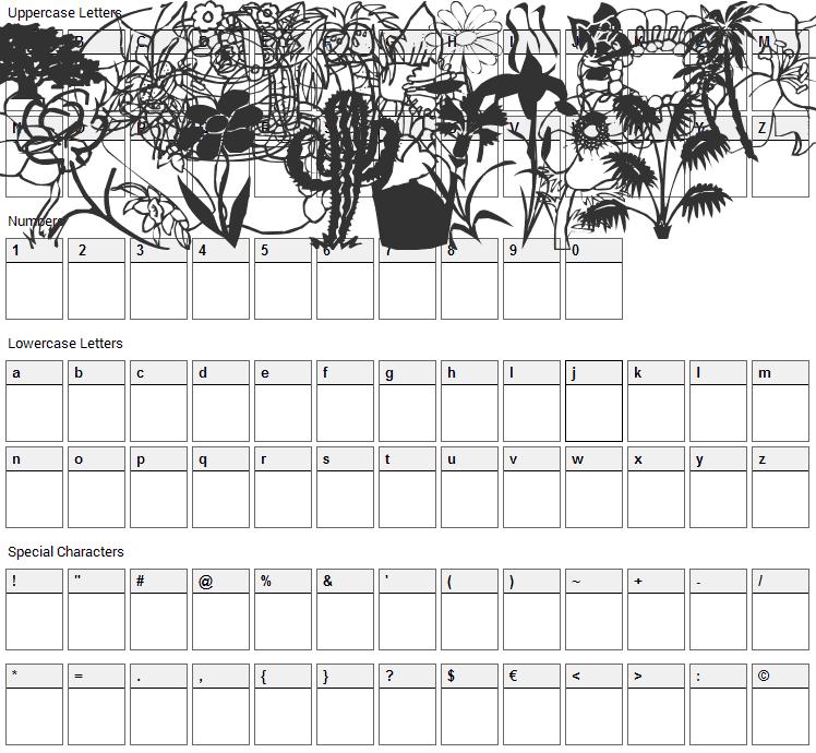 LP Nature Font Character Map