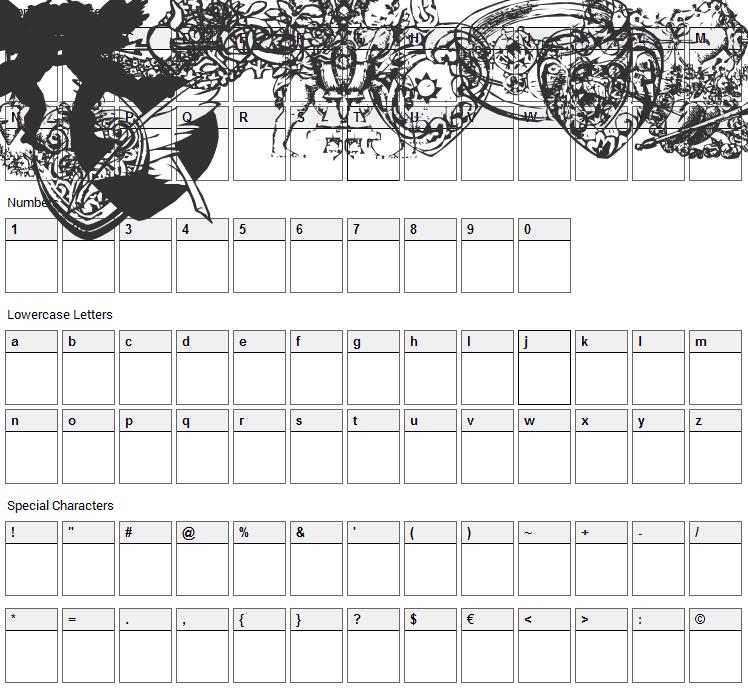 LP Romantic 1 Font Character Map