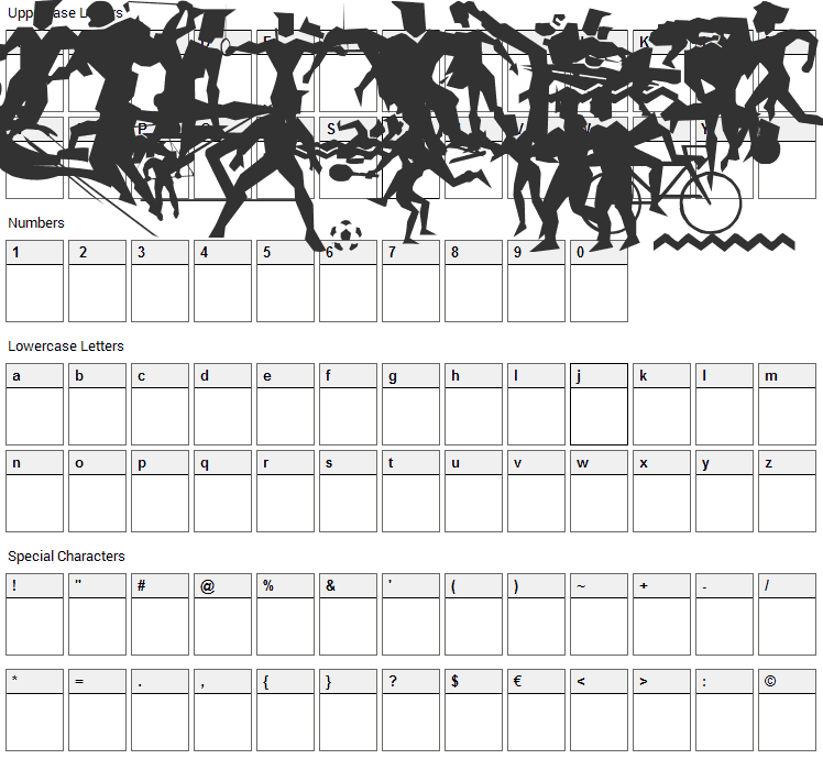 LP Sports 1 Font Character Map
