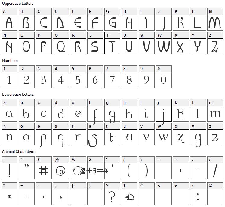 LR HandScript Font Character Map