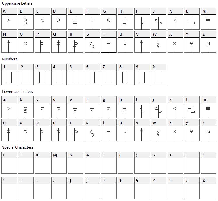 LR Talisman Font Character Map