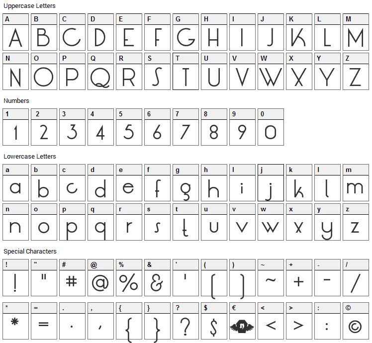 LT Oksana Font Character Map