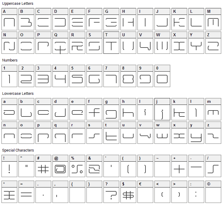 LTR-04: Wireflame Font Character Map