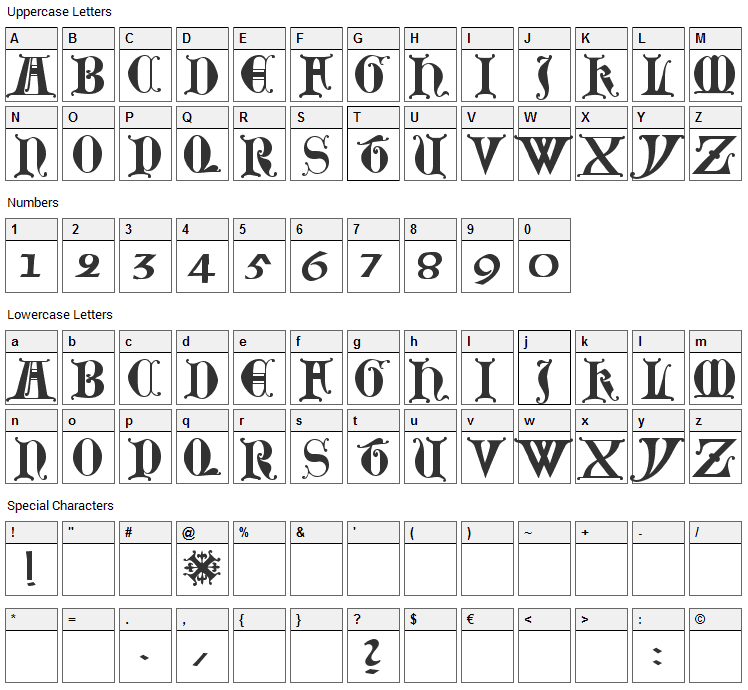 Lubeck Font Character Map