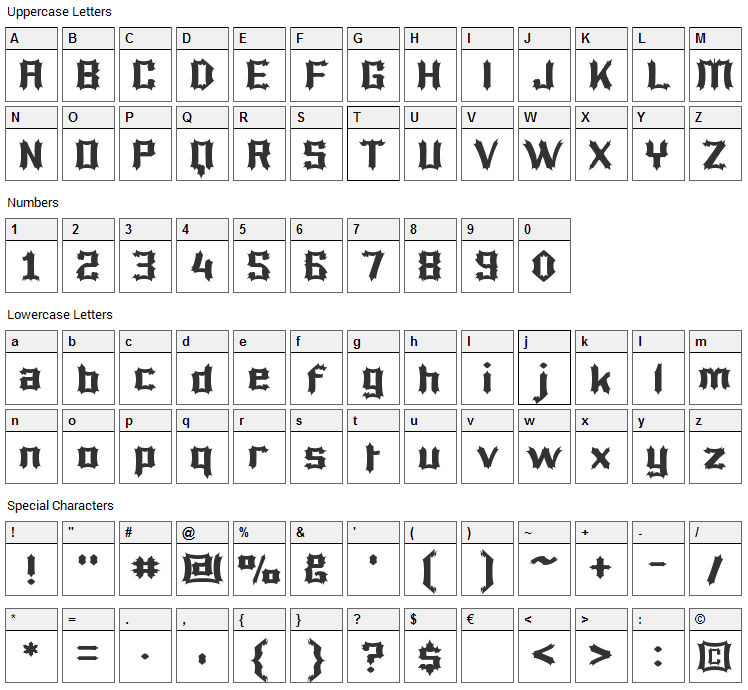 Luciferius Font Character Map