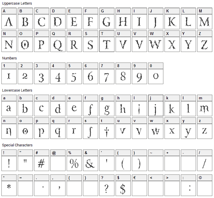 Lucifers Pension Font Character Map