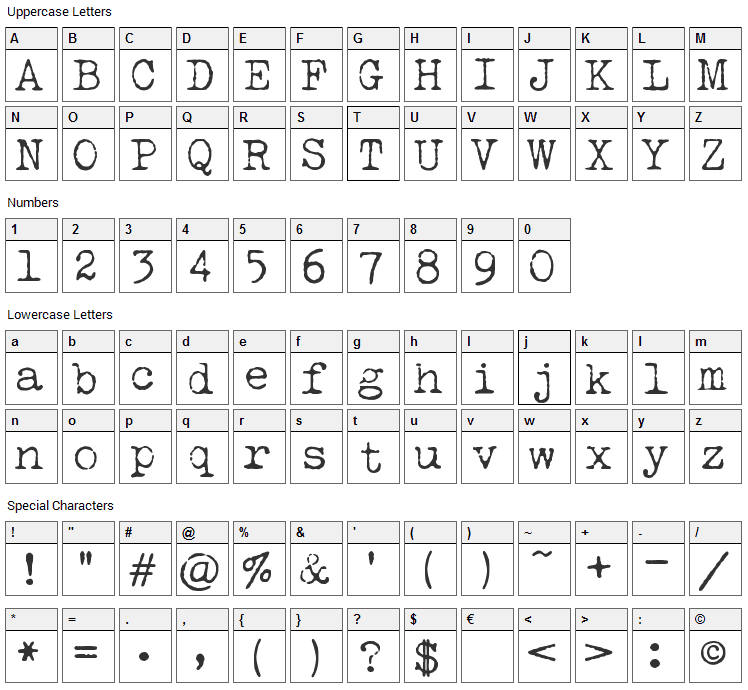 Lucky Typewriter Font Character Map