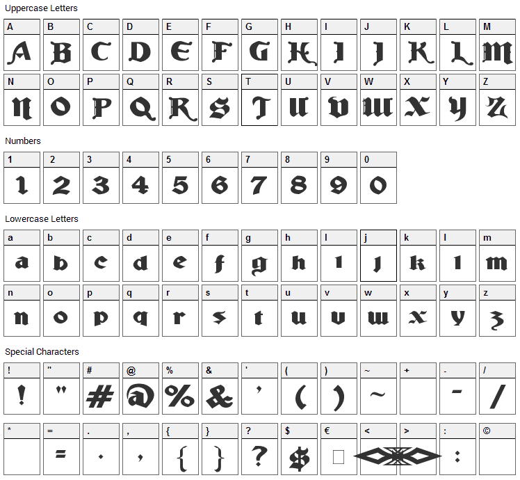 Ludlow Strong Ale Font Character Map