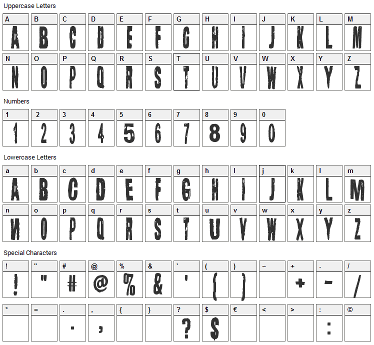 Lugosi Font Character Map