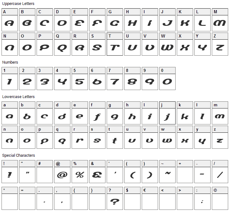 Lumine Sign Font Character Map