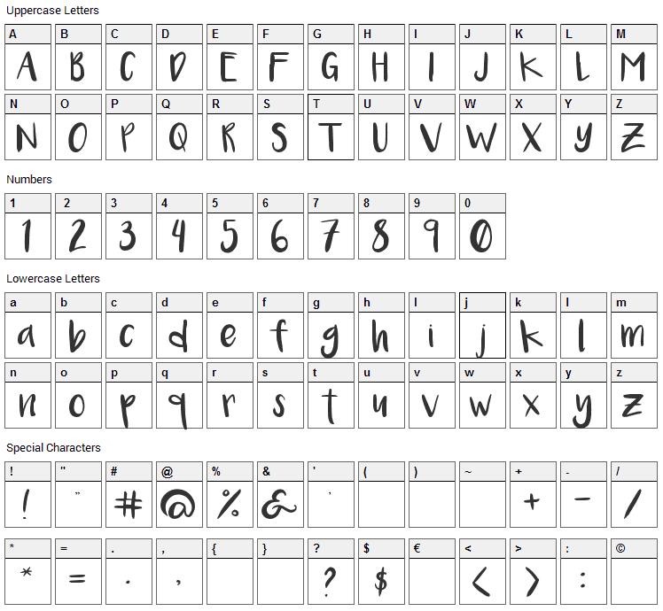 Luna Font Character Map