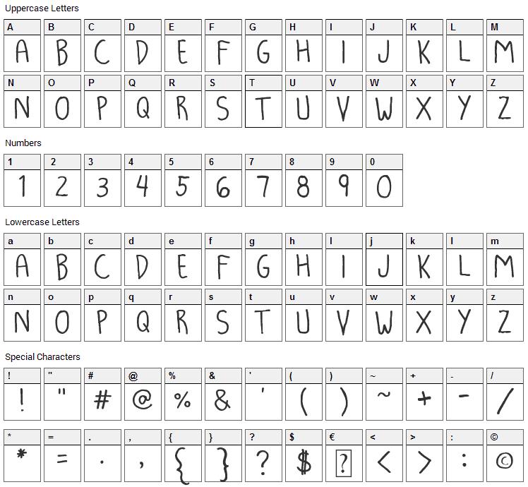 Luna Kronik Font Character Map