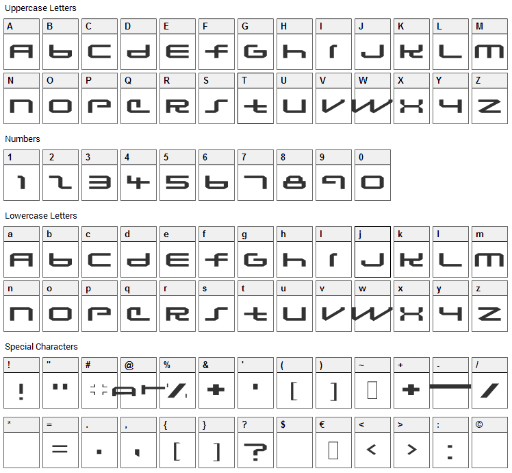 Lunasequent Font Character Map
