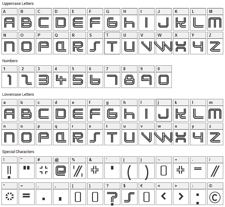 Lunasol Font Character Map
