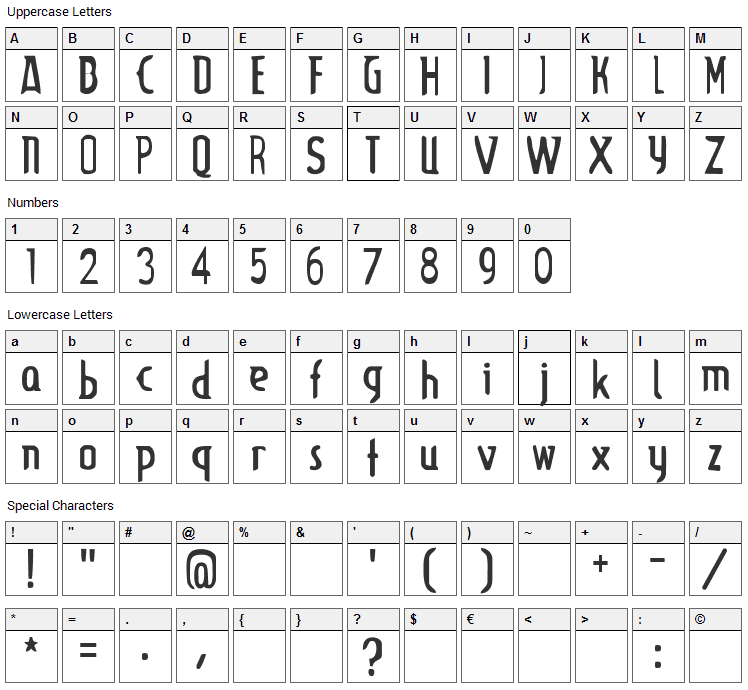 Lupinus Font Character Map