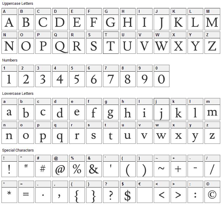 Lusitana Font Character Map