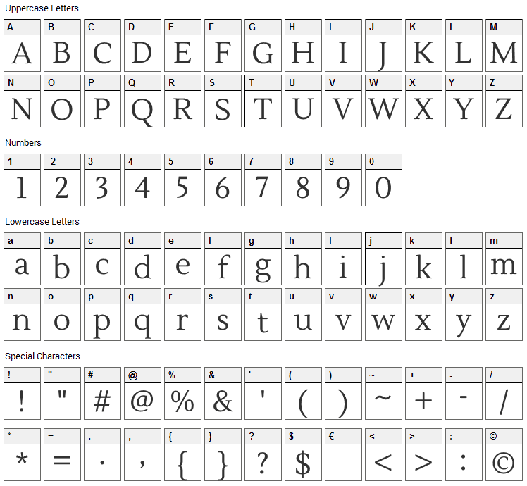 Lustria Font Character Map