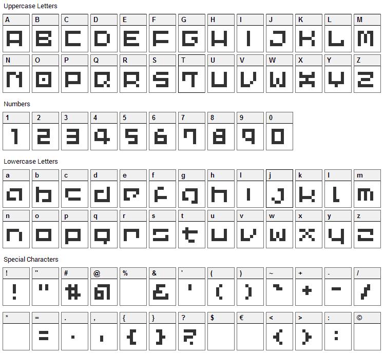 LVDC Common Pix2 Font Character Map