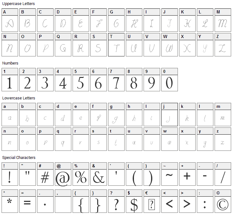Lydeke Handwrithing Font Character Map