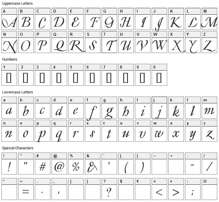Lyonesse Font Character Map