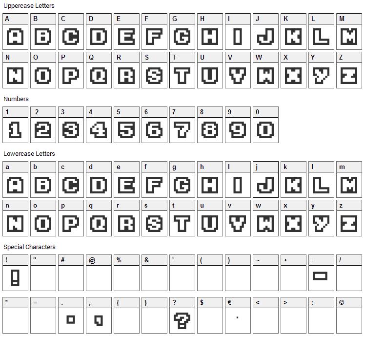 M04 Fatal Fury Font Character Map