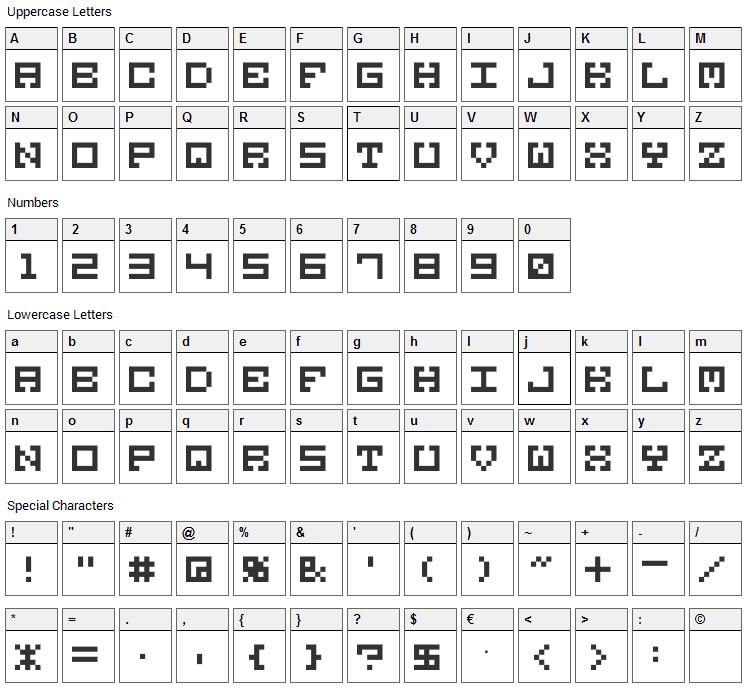 M38 Gorilla Font Character Map