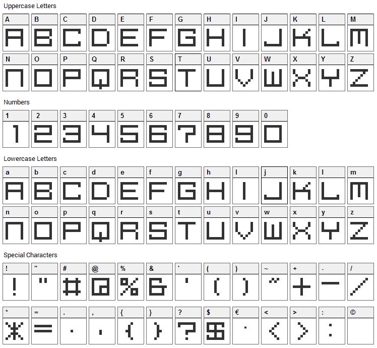 M39 Squarefuture Font Character Map