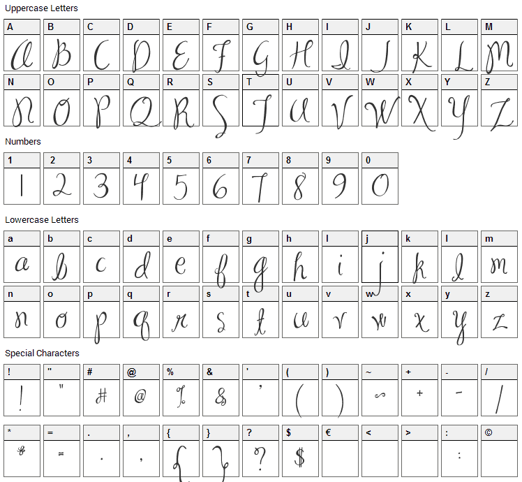 Ma Sexy Font Character Map