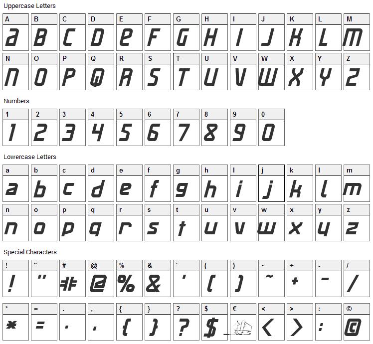 Maas Slicer Font Character Map