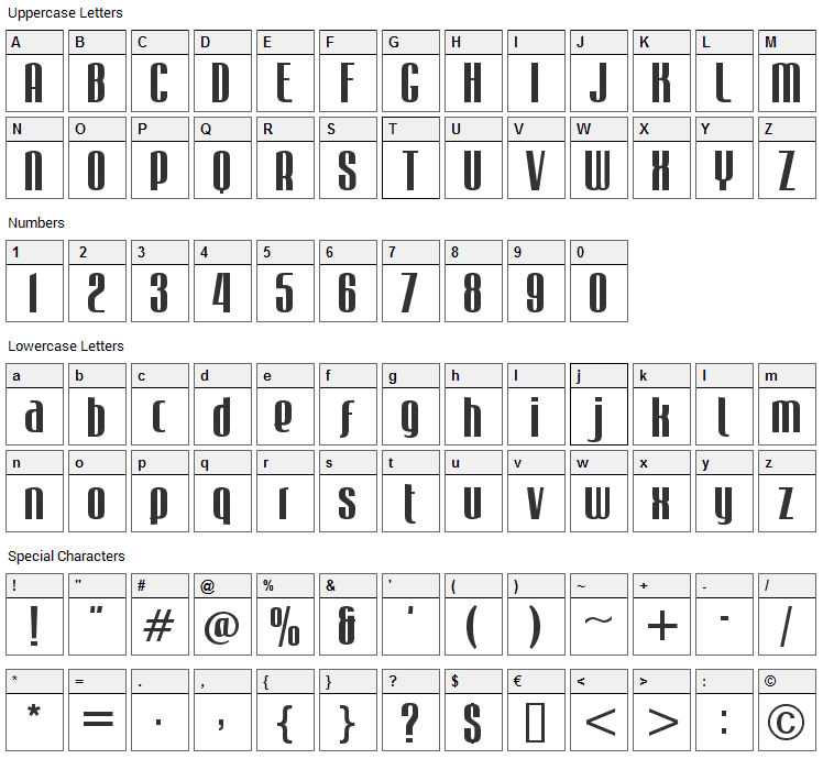 Mabella Font Character Map