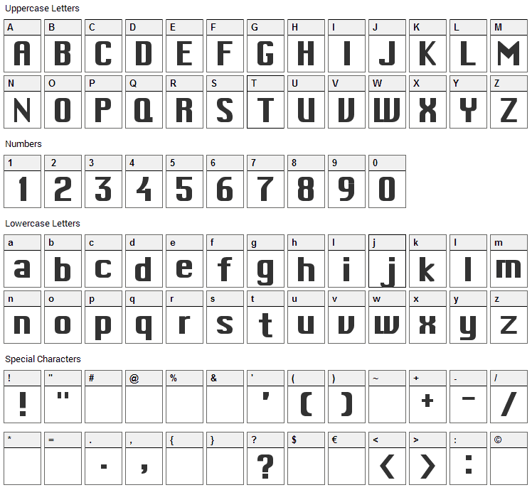 Mac Type Font Character Map