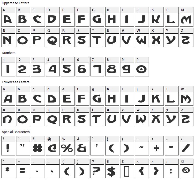 Machiavelli Font Character Map