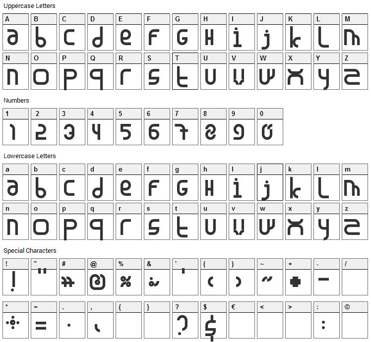 Madura Font Character Map