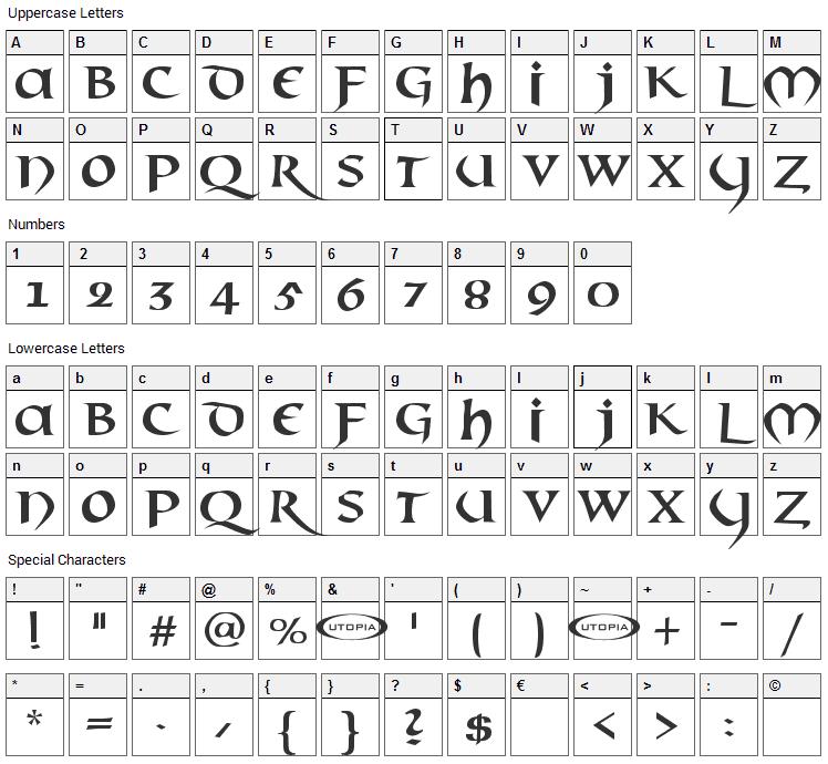 Mael Font Character Map