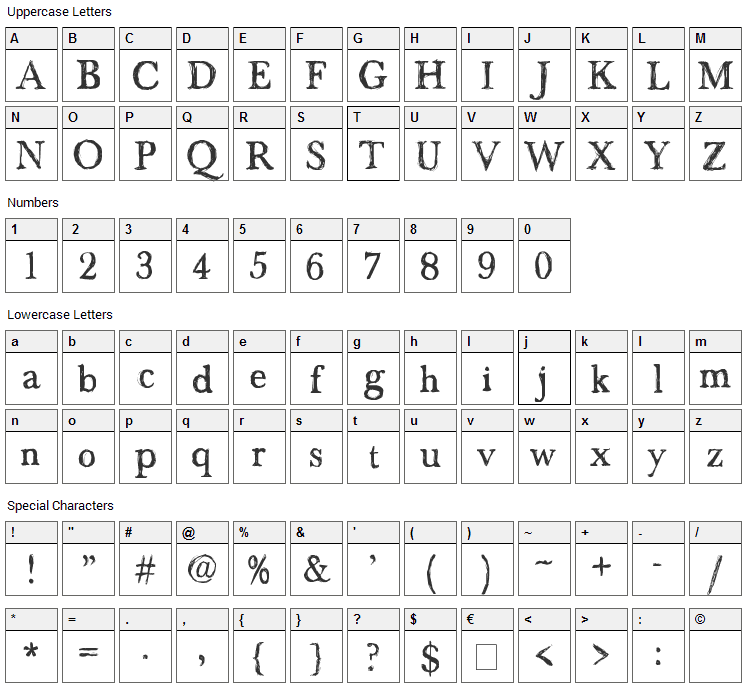 Maenan 2 Font Character Map