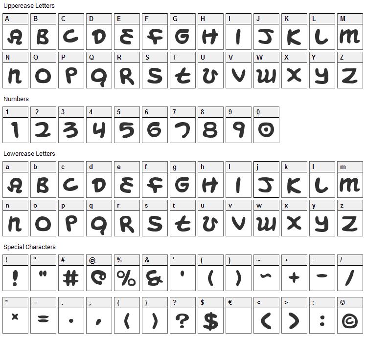 Magic Beans Font Character Map