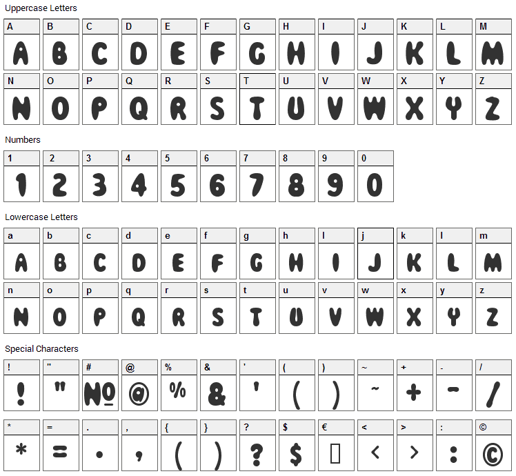 Magical Mystery Tour Font Character Map