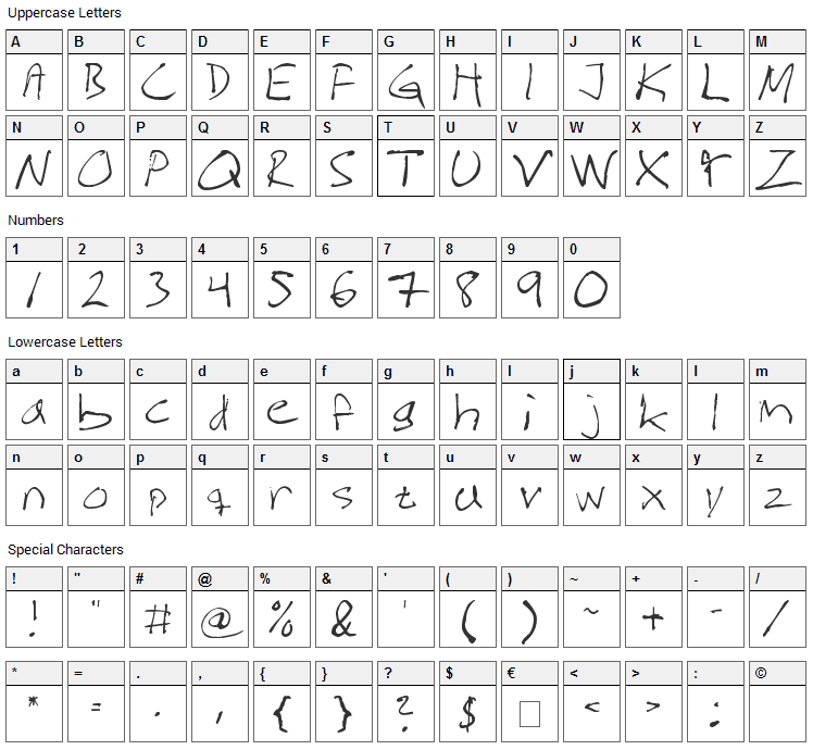 Magnus Handwriting Font Character Map
