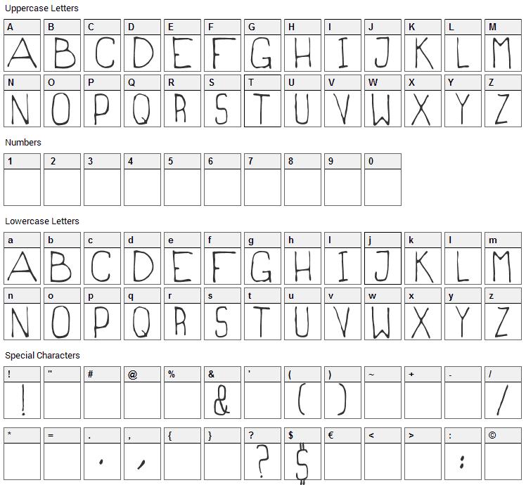 Magrilinha Font Character Map