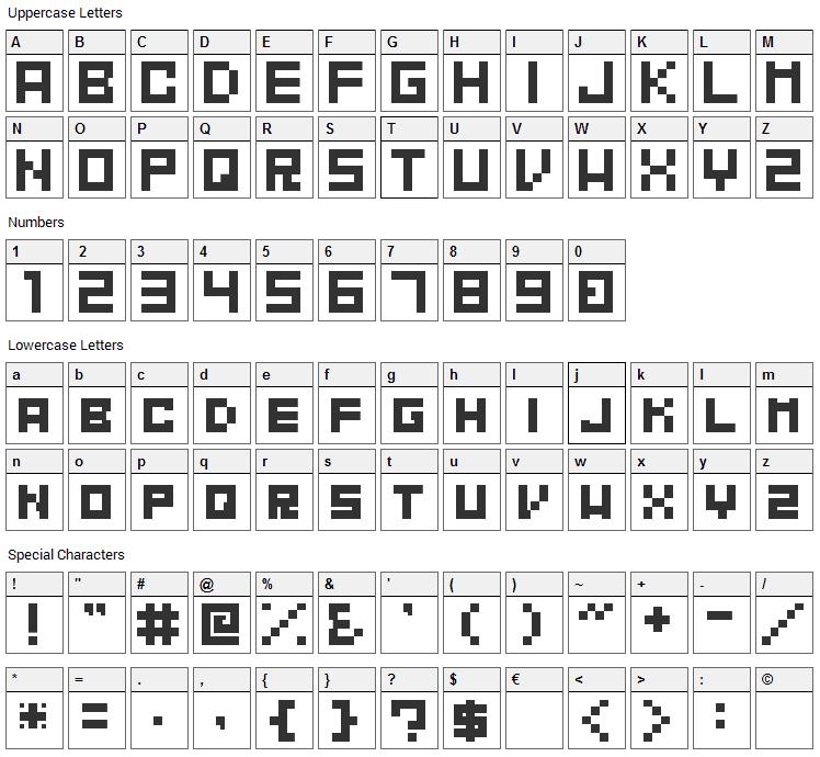 Mahawa Font Character Map